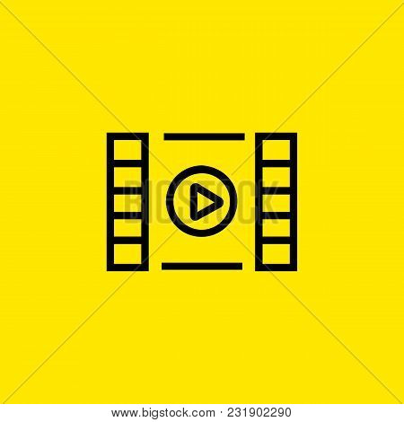 Line Icon Of Media Player Symbol. Video, Movie, Presentation. Software Concept. Can Be Used For Web