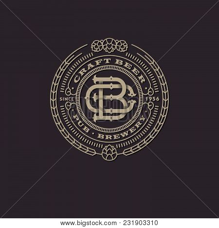 A Beautiful Beer Emblem. Interlaced Letters. B And C Monogram. Craft Beer Logo. An Antique Sign Like