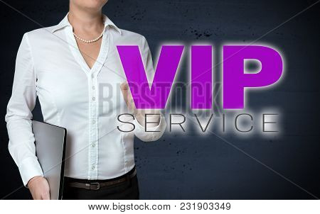 Vip Service Touchscreen Is Shown By Businesswoman.