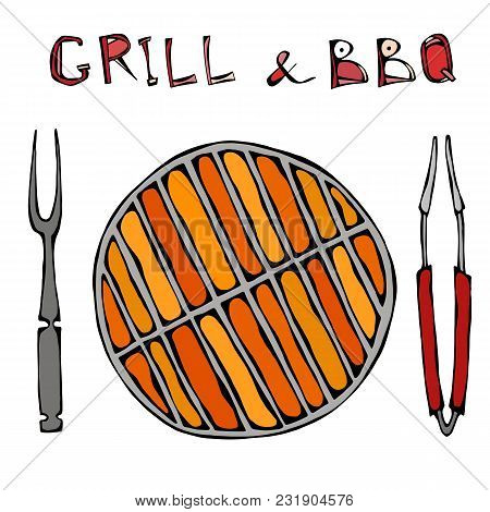 Grill And Bbq Empty On Fire. Picnic And Barbeque With Flame, Bbq Appliances Tongs And Fork. Outdoor