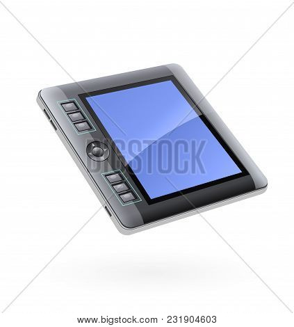 Digital Tablet Monitor For Drawing. Device For Computer. Isolated White Background. Eps10 Vector Ill