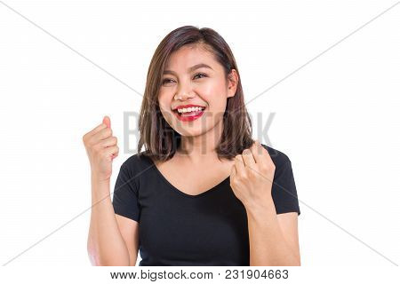 Young Asian Woman Scream With Exciting For Shock Sale Promotion, Fun And Joy Moment, Black Shirt, Wh
