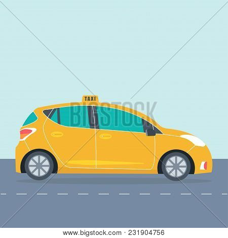 Yellow Cab Icon Isolated On Background. Taxi Service Concept. Flat Vector Illustration.
