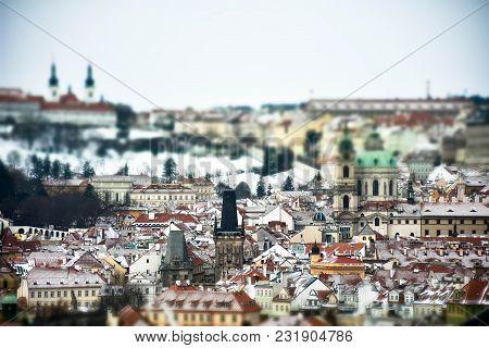 Panorama  And Miniature View  Of Prague, Czech Republic City