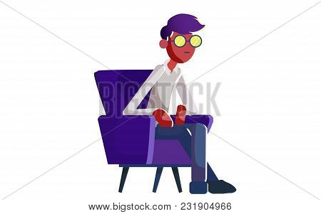 The Man Sits On A Chair. Vector Illustration. Isolated On A White Background.