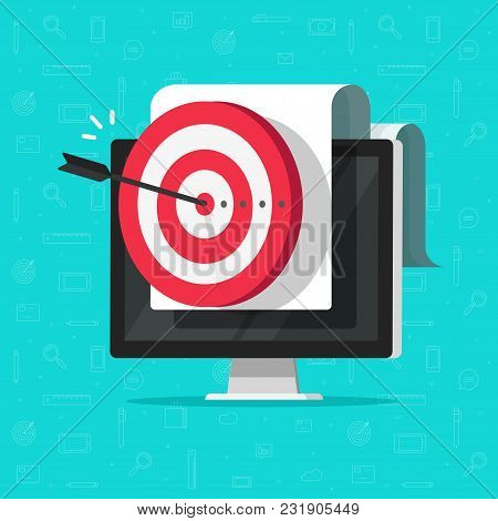 Target On Computer Display Vector, Concept Of Success Business Aim Or Goal, Digital Marketing Promot