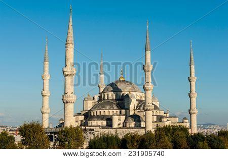 Blue Mosque lit by a evening sun, Istanbul, Turkey