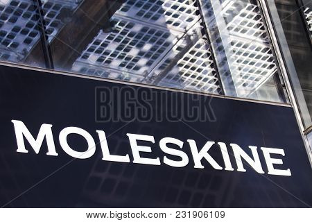 Milan, Italy - April 28, 2017: Detail Of Moleskine Store In Milan, Italy.it  Is An Italian Manufactu