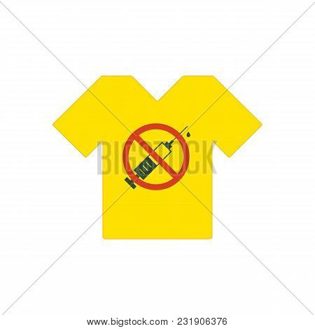 Yellow T-shirt. No Drugs Allowed. Syringe With Forbidden Sign - No Drug. Syringe Icon In Prohibition