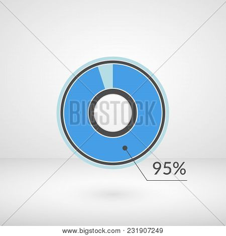 95 Percent Pie Chart Isolated Symbol. Percentage Vector Infographics. Circle Diagram Sign. Business