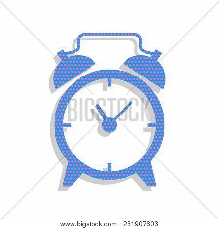 Alarm Clock Sign. Vector. Neon Blue Icon With Cyclamen Polka Dots Pattern With Light Gray Shadow On