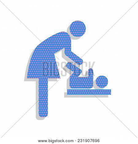 Women And Baby Symbol, Baby Changing. Vector. Neon Blue Icon With Cyclamen Polka Dots Pattern With L