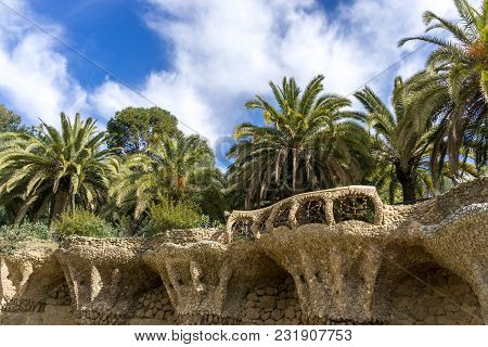 Park Guell Columns And Viaducts