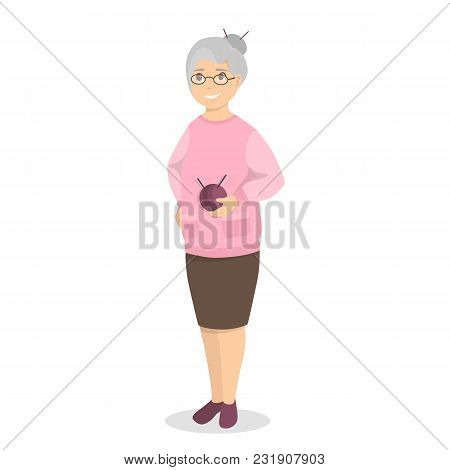 Isolated Old Lady Granny On White Background.