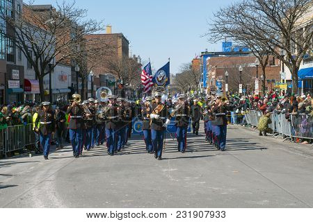 BOSTON, USA - Mar. 18, 2018: Military Band in Saint Patrick's Day Parade in Boston, Massachusetts, USA.