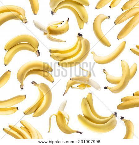 Banana bunches on the white background. Banana background.