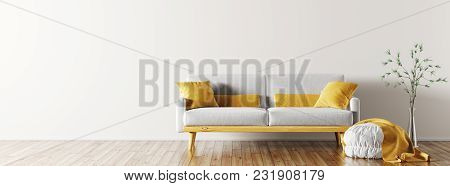 Modern Interior Of Living Room With Grey Sofa, Ottoman And Vase With Branch 3d Rendering