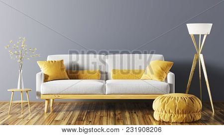 Modern Interior Of Living Room With Grey Sofa, Ottoman And Floor Lamp 3d Rendering