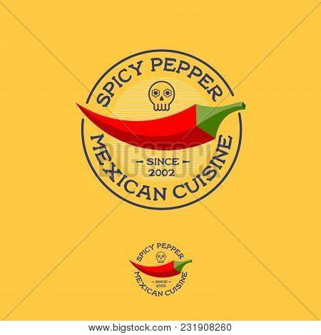 Mexican Food Logo. Street Food Logo. Chili Pepper Icon. Restaurant Emblem. Beautiful Logo In The Cir