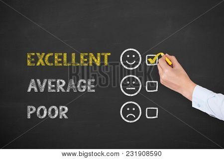 Human Hand Drawing Customer Satisfaction Concepts On Chalkboard Background