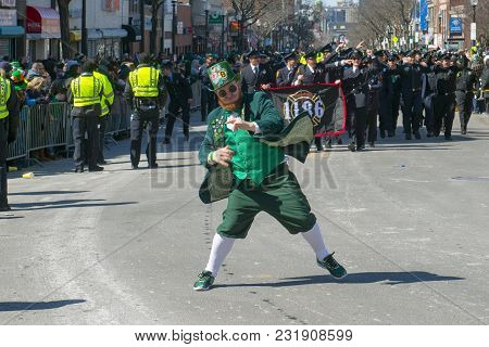 BOSTON, USA - Mar. 18, 2018: Leprechaun in Saint Patrick's Day Parade in Boston, Massachusetts, USA.