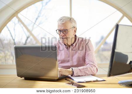 Senior Buisnessman With Laptop