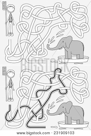 Elephant Bath Maze For Kids With A Solution In Black And White