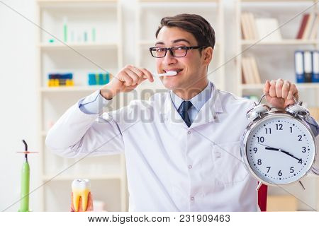 Young dentist working in the dentistry hospital