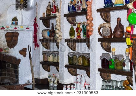Russian Rural Country Style Kitchen With Village Interior Decoration Accessories
