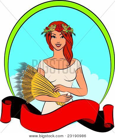 Beautiful girl with sheaf of wheat. Vector