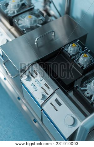 High Angle View Of Medical Stainless Equipment In Surgery Room