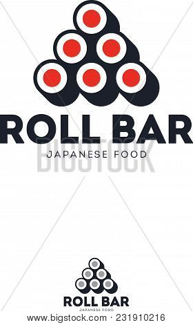 Sushi Roll Bar Flat Logo. Japanese Food Emblem Rolls And Letters On A White Background