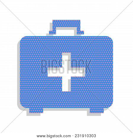 Medical First Aid Box Sign. Vector. Neon Blue Icon With Cyclamen Polka Dots Pattern With Light Gray