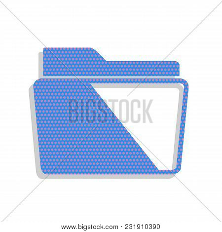 Folder Sign Illustration. Vector. Neon Blue Icon With Cyclamen Polka Dots Pattern With Light Gray Sh