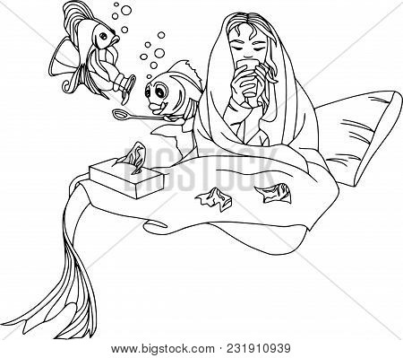 Mermaid Fell Ill, Fish Pour Cough Syrup. Cartoon Characters, Pets, Health, Set, Coloring Outline.