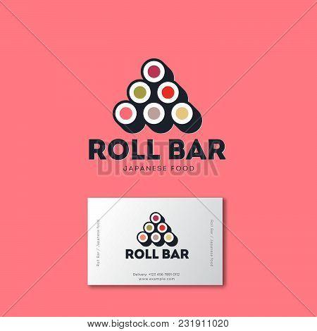 Sushi Roll Bar Flat Logo. Japanese Food Emblem. Rolls On A Pink Background. Identity Business Card
