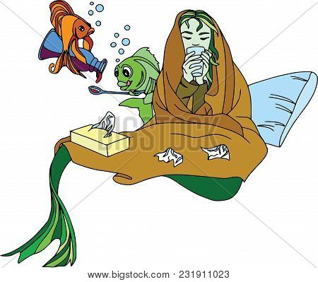 Mermaid Fell Ill, Fish Pour Cough Syrup. Cartoon Characters, Pets, Health, Set.
