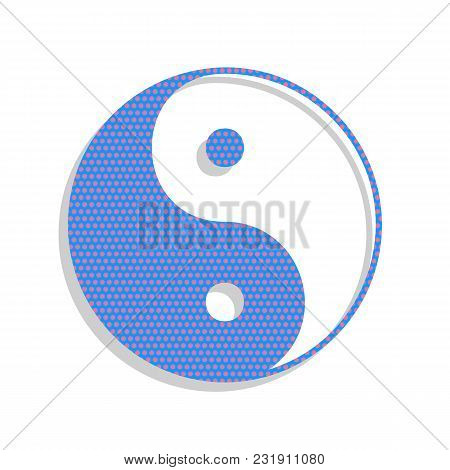 Ying Yang Symbol Of Harmony And Balance. Vector. Neon Blue Icon With Cyclamen Polka Dots Pattern Wit