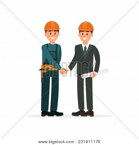 Construction Engineer Or Architect And Foreman In Hardhats Shaking Hands Vector Illustration Isolate