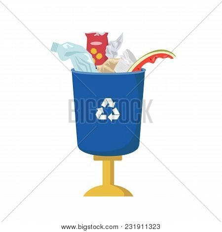 Garbage Can Is Full Of Trash On White Background. Ecology And Recycle Concept. Vector Illustration.