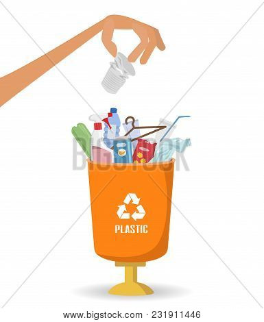 Man Throws Garbage Into A Plastic Container On White Background. Ecology And Recycle Concept. Vector