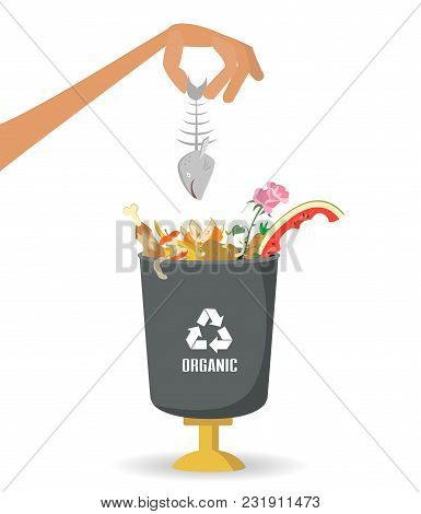 Man Throws Garbage Into A Organic Container On White Background. Ecology And Recycle Concept. Vector