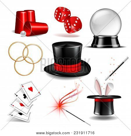 Magician Symbol Set With Black Cylinder Hat, Falling Dice, Magic Wand, Rabbit Ears Appear From The M