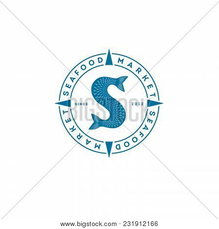 Fish Tails Logo. Seafood Market Or Restaurant. Fish Tail And Letters, Fins And Scales.