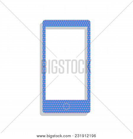 Abstract Style Modern Gadget With Blank Screen. Template For Any Content. Vector. Neon Blue Icon Wit