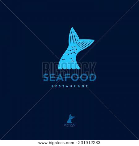 Fish Tail Logo. Seafood Restaurant. Fish Tail And Waves.