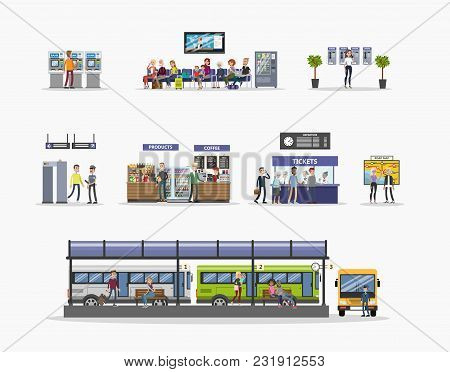 Bus Station Illustrations With People On White.