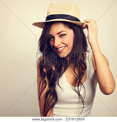 Beautiful Long Hair Labeautiful Long Hair Laughing Woman In White Top And Straw Hat Looking Happy. T