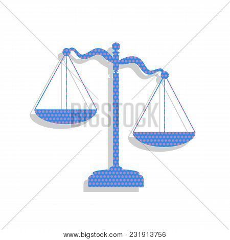 Scales Of Justice Sign. Vector. Neon Blue Icon With Cyclamen Polka Dots Pattern With Light Gray Shad