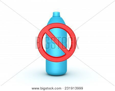 3D Red Forbidden Symbol Across Plastic Water Bottle